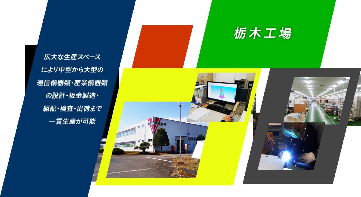 広大な生産スペースにより中型から大型の通信機器類・産業機器類の設計・板金製造・組配・検査・出荷まで一貫生産が可能